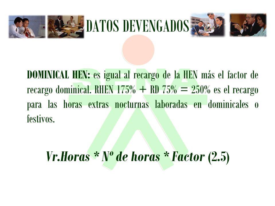 Vr.Horas * Nº de horas * Factor (2.5)