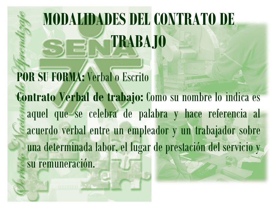 MODALIDADES DEL CONTRATO DE TRABAJO