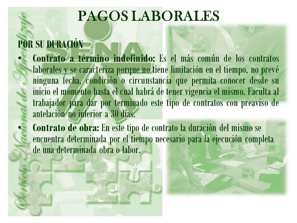 PAGOS LABORALES POR SU DURACIÓN