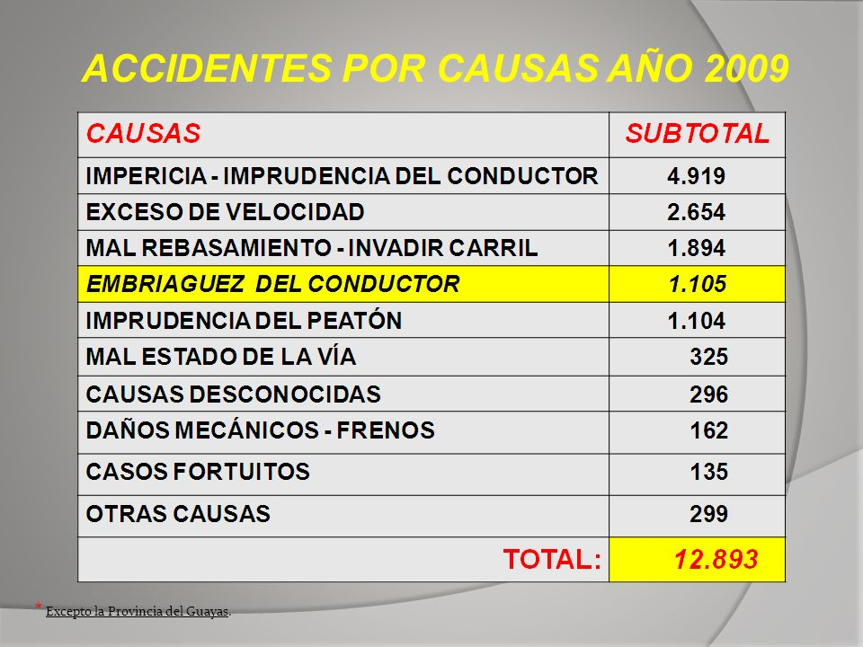 ACCIDENTES POR CAUSAS AÑO 2009