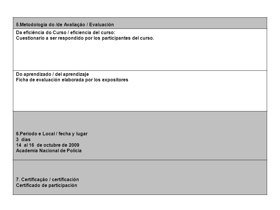 5.Metodologia do /de Avaliação / Evaluación