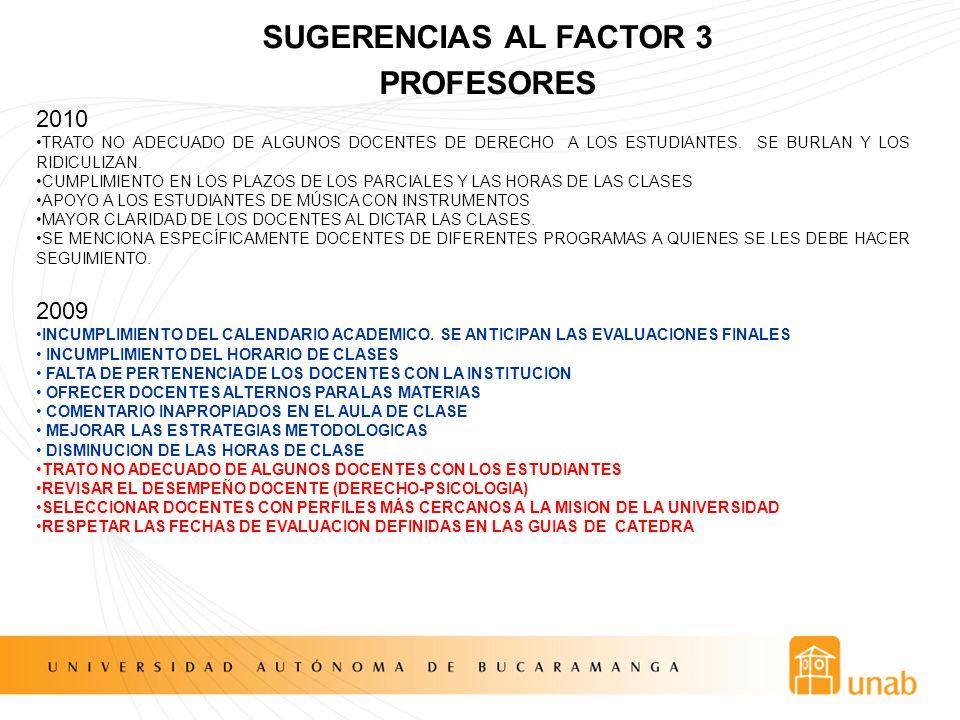 SUGERENCIAS AL FACTOR 3 PROFESORES