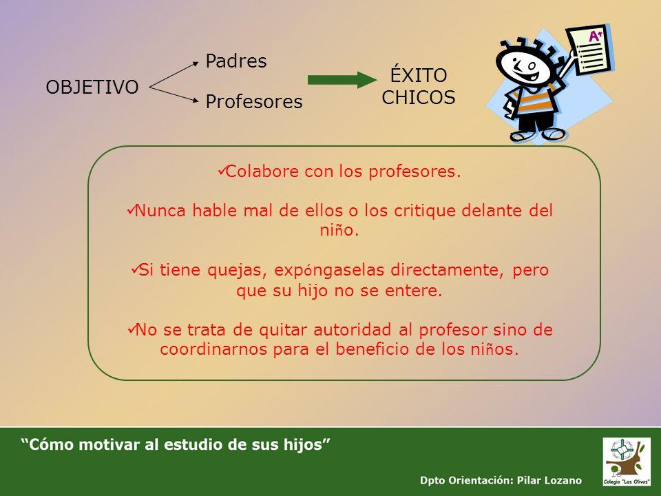 Padres ÉXITO CHICOS OBJETIVO Profesores Colabore con los profesores.