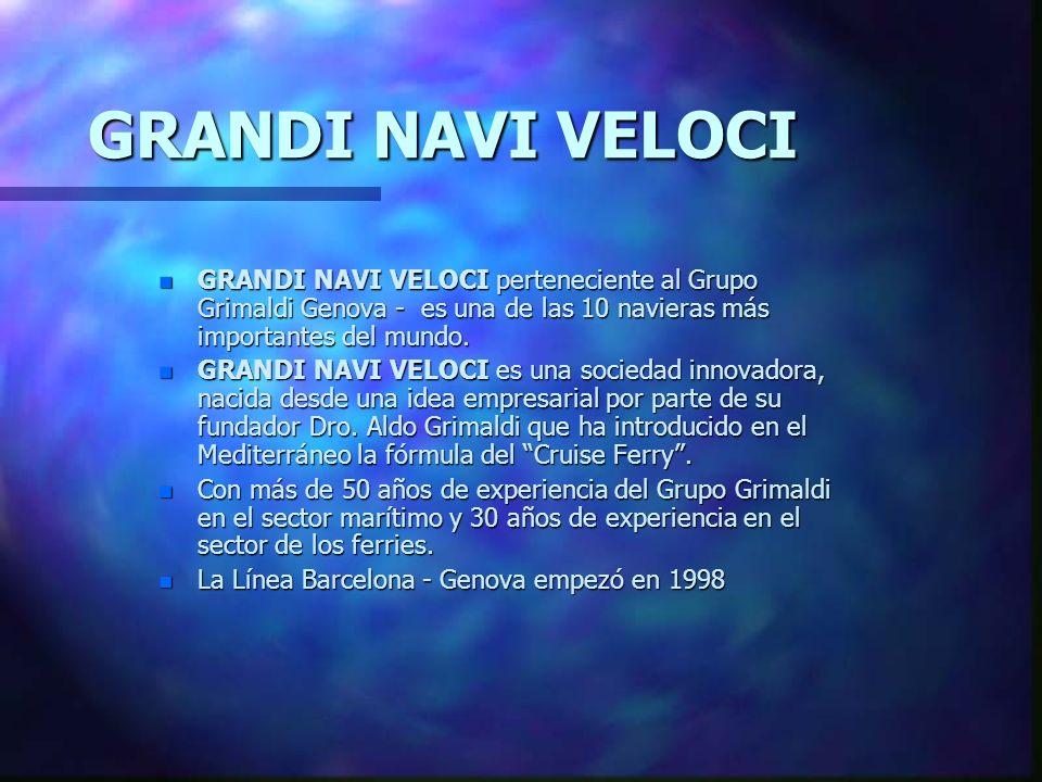 GRANDI NAVI VELOCI GRANDI NAVI VELOCI perteneciente al Grupo Grimaldi Genova - es una de las 10 navieras más importantes del mundo.