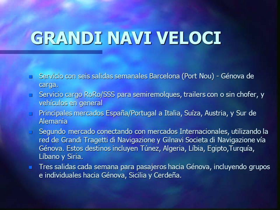 GRANDI NAVI VELOCI Servicio con seis salidas semanales Barcelona (Port Nou) - Génova de carga.
