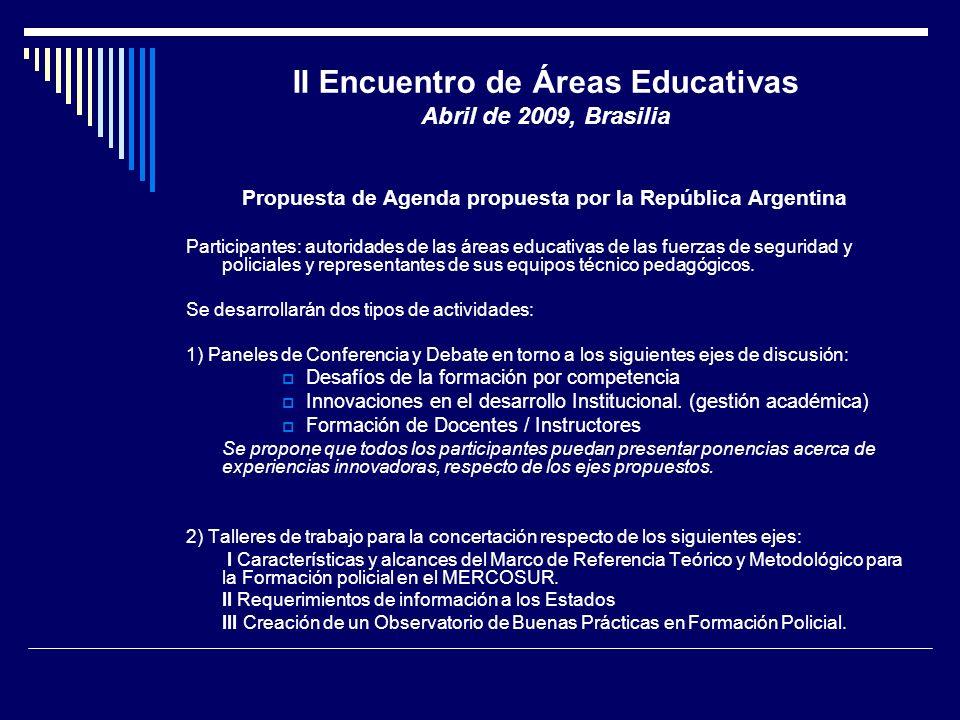 II Encuentro de Áreas Educativas Abril de 2009, Brasilia