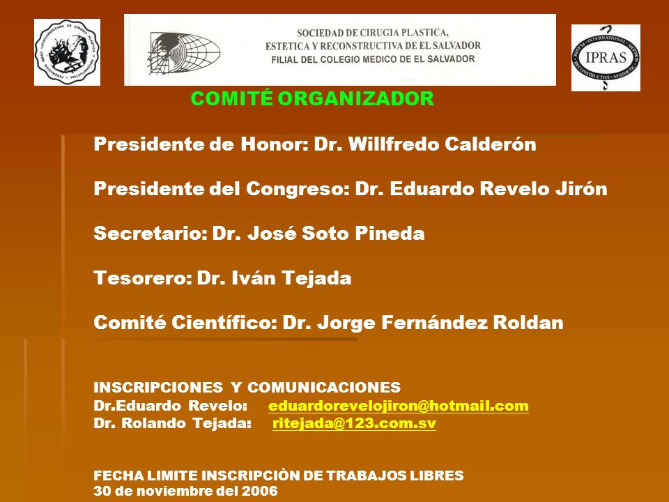 COMITÉ ORGANIZADOR COMITÉ ORGANIZADOR Presidente de Honor: Dr