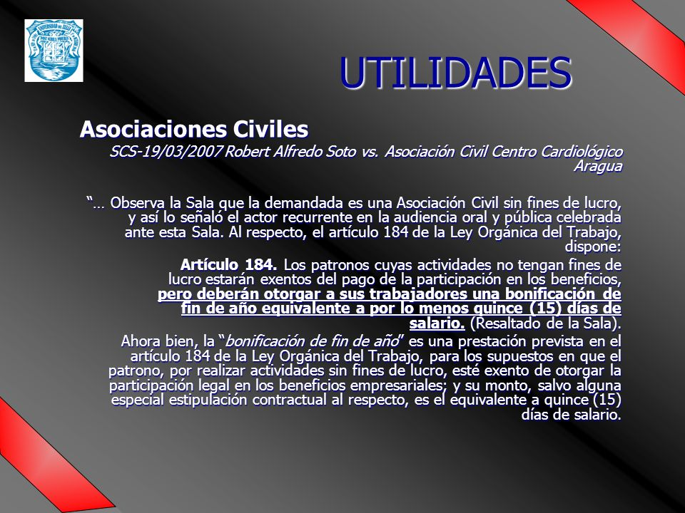 UTILIDADES Asociaciones Civiles