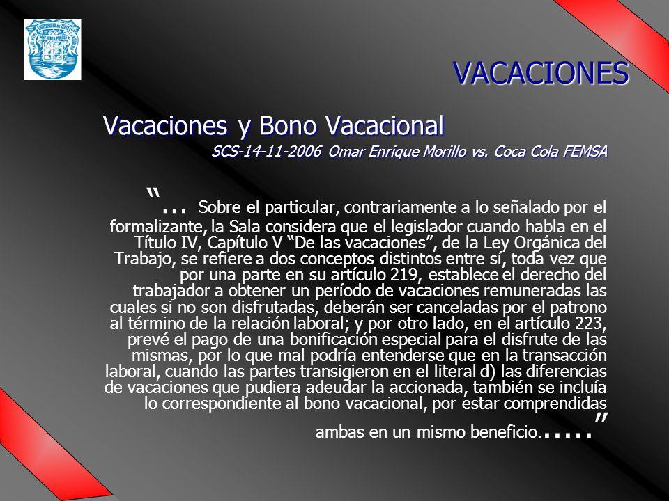 Vacaciones y Bono Vacacional