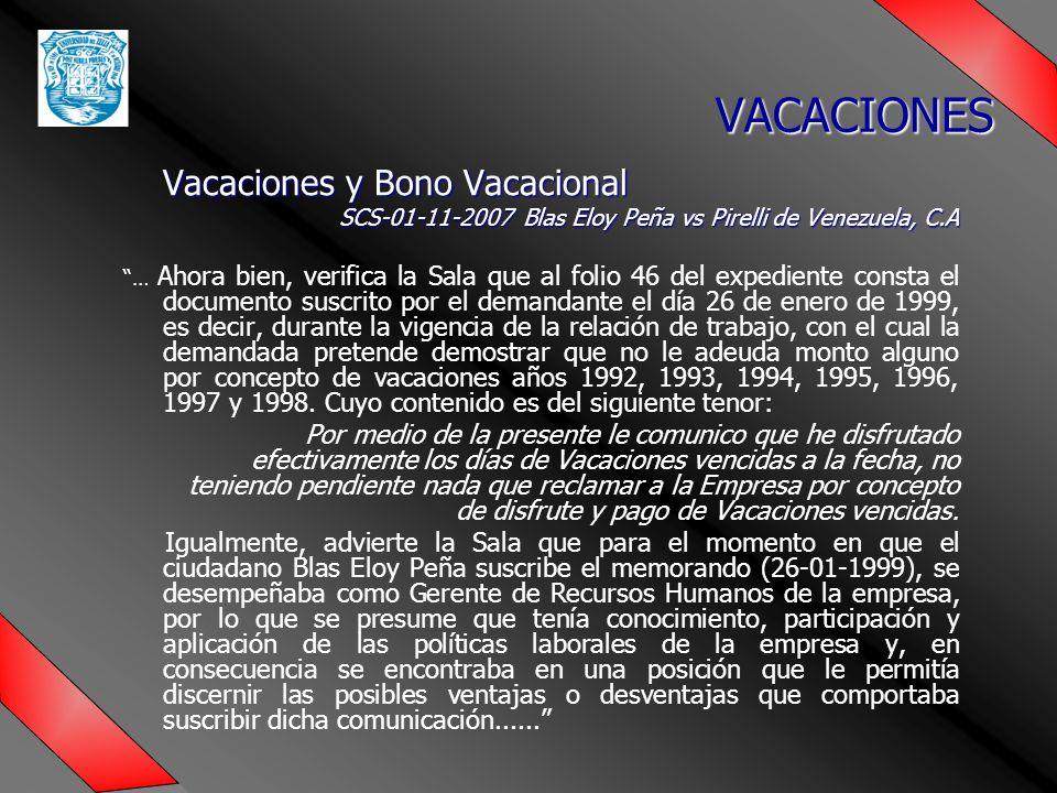 VACACIONES Vacaciones y Bono Vacacional