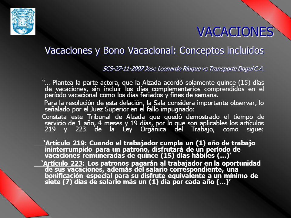 VACACIONES Vacaciones y Bono Vacacional: Conceptos incluidos