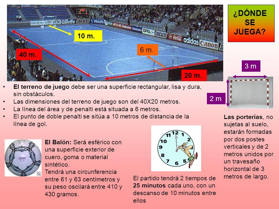 ¿DÓNDE SE JUEGA 10 m. 6 m. 40 m. 3 m. 20 m. El terreno de juego debe ser una superficie rectangular, lisa y dura, sin obstáculos.