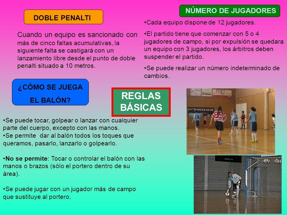 REGLAS BÁSICAS NÚMERO DE JUGADORES DOBLE PENALTI