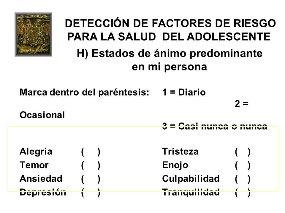 DETECCIÓN DE FACTORES DE RIESGO PARA LA SALUD DEL ADOLESCENTE