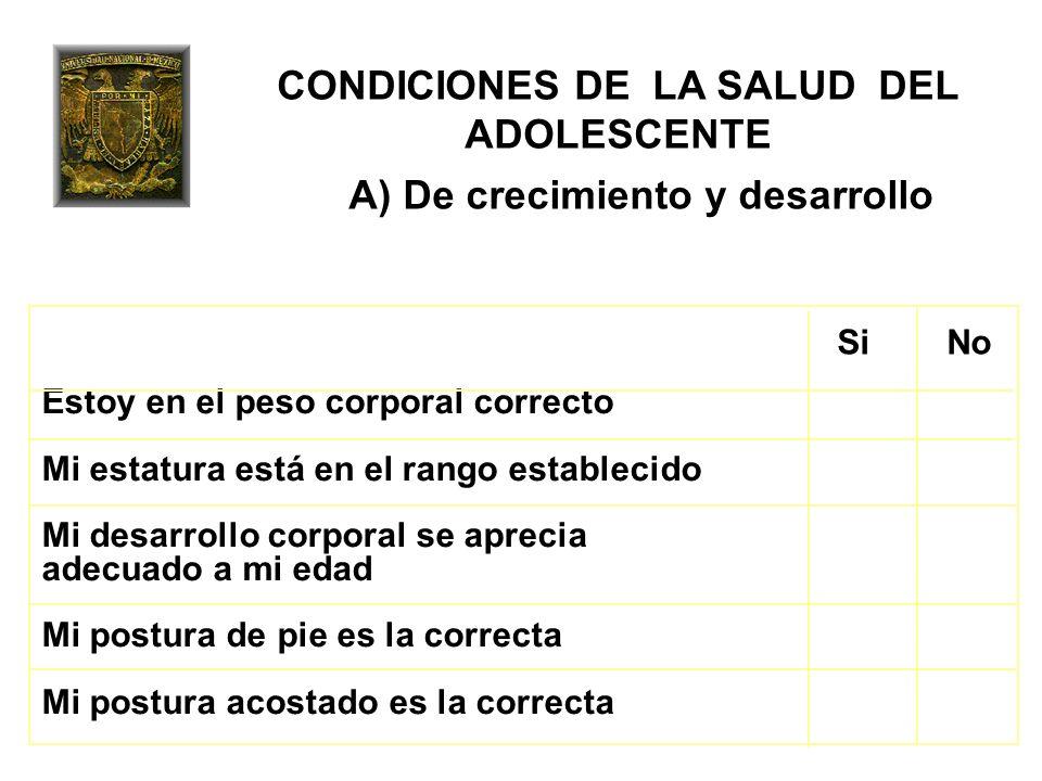 CONDICIONES DE LA SALUD DEL ADOLESCENTE