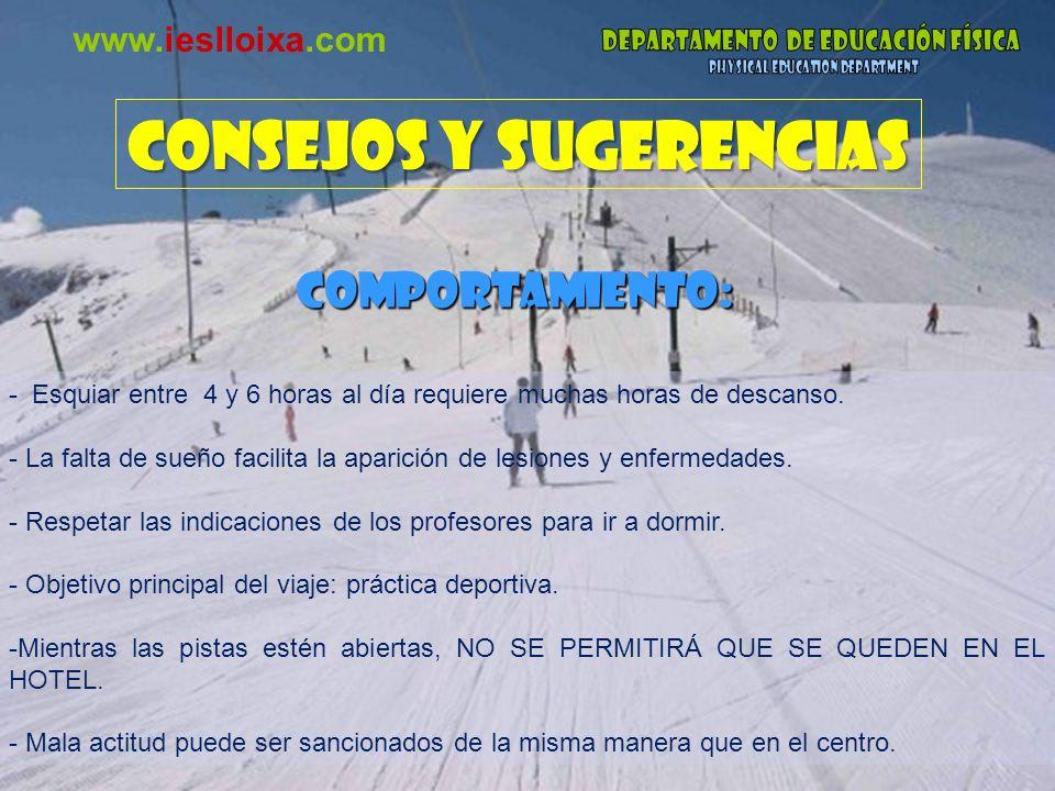CONSEJOS Y SUGERENCIAS