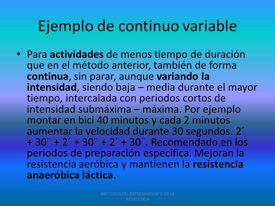 Ejemplo de continuo variable