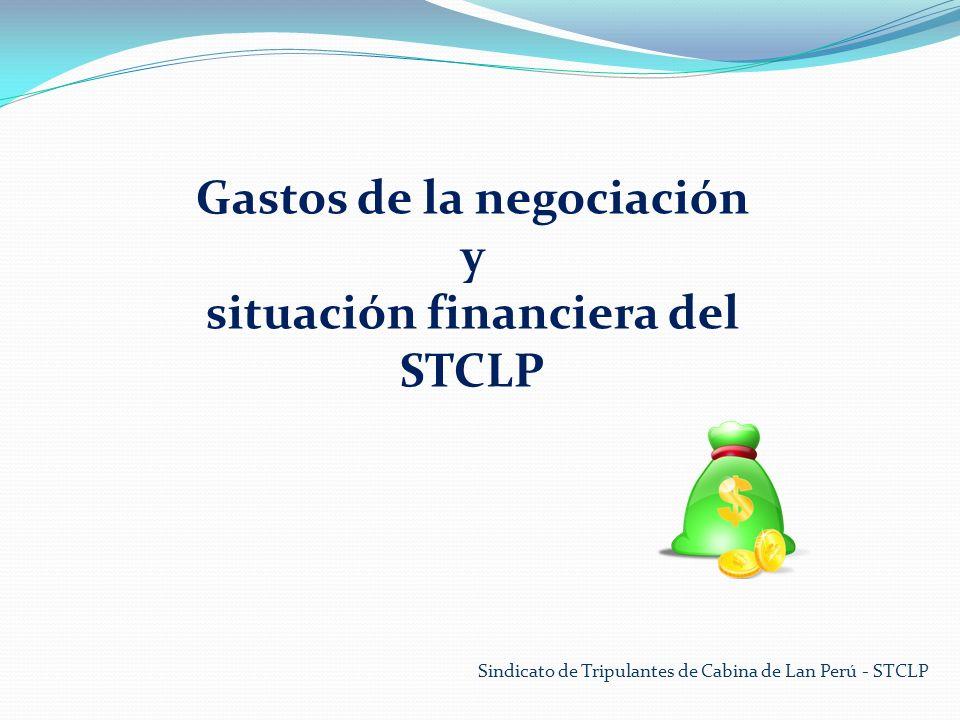 Gastos de la negociación situación financiera del STCLP