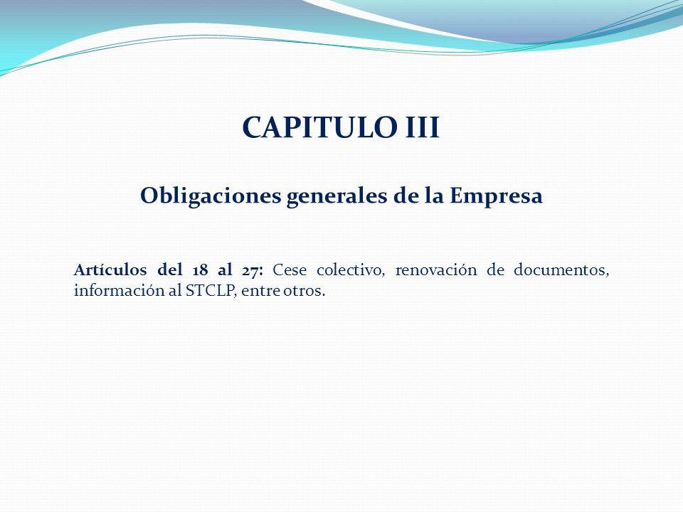 Obligaciones generales de la Empresa