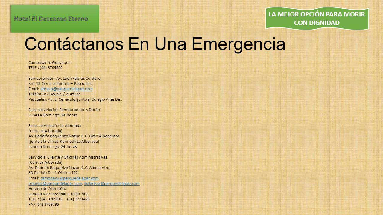 Contáctanos En Una Emergencia