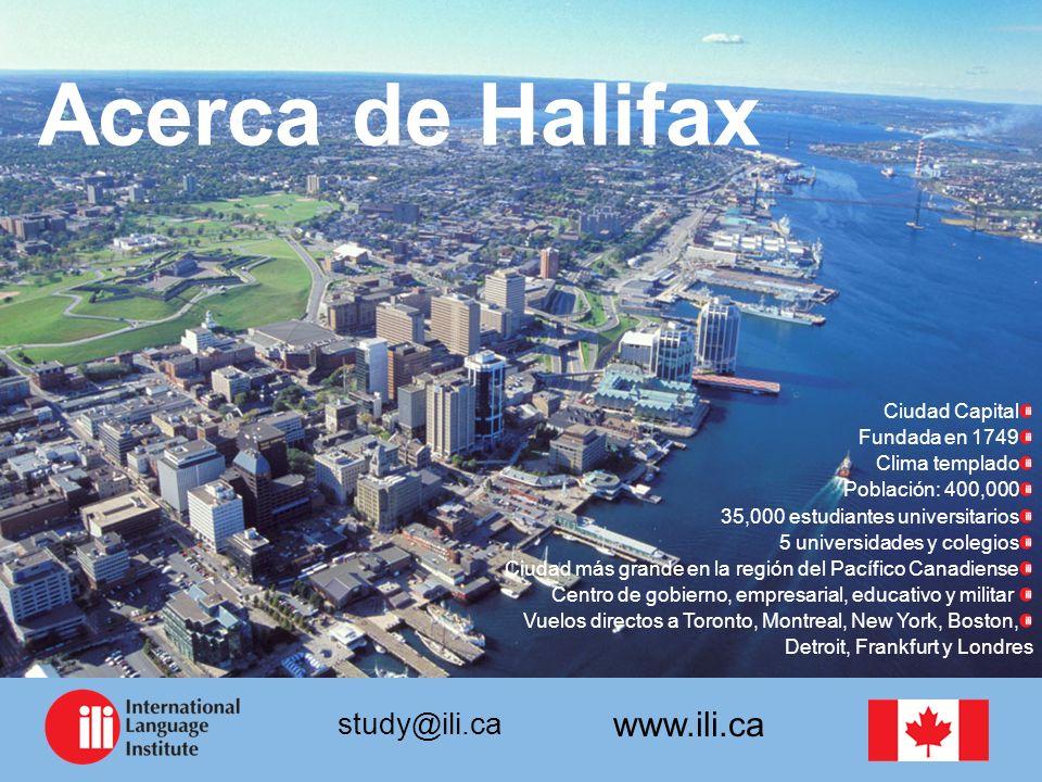 Acerca de Halifax Ciudad Capital Fundada en 1749 Clima templado