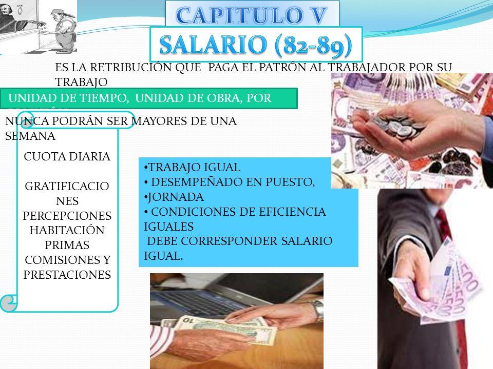CAPITULO V SALARIO (82-89) ES LA RETRIBUCIÓN QUE PAGA EL PATRÓN AL TRABAJADOR POR SU TRABAJO. UNIDAD DE TIEMPO, UNIDAD DE OBRA, POR COMISIÓN.