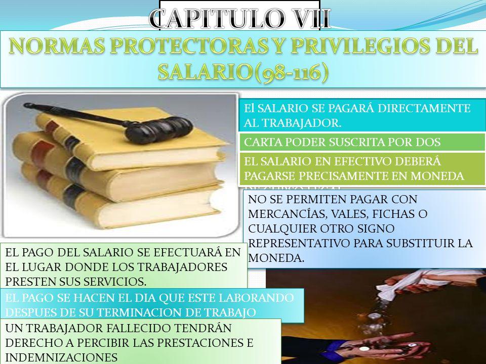 NORMAS PROTECTORAS Y PRIVILEGIOS DEL SALARIO(98-116)