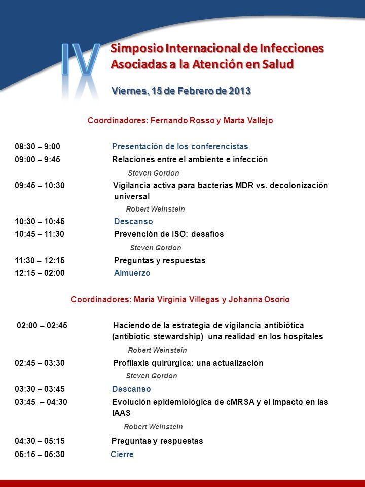 IV Simposio Internacional de Infecciones Asociadas a la Atención en Salud. Viernes, 15 de Febrero de 2013.