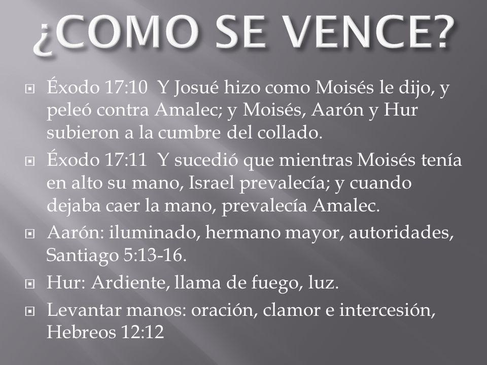 ¿COMO SE VENCE Éxodo 17:10 Y Josué hizo como Moisés le dijo, y peleó contra Amalec; y Moisés, Aarón y Hur subieron a la cumbre del collado.