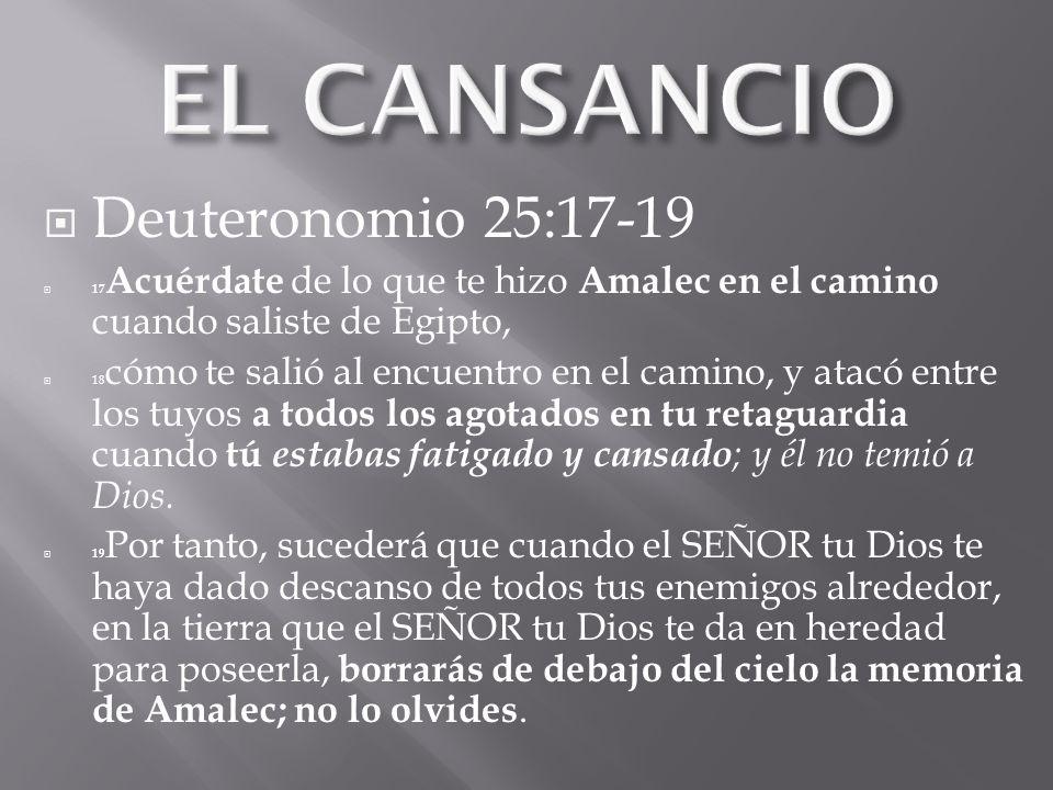 EL CANSANCIO Deuteronomio 25:17-19