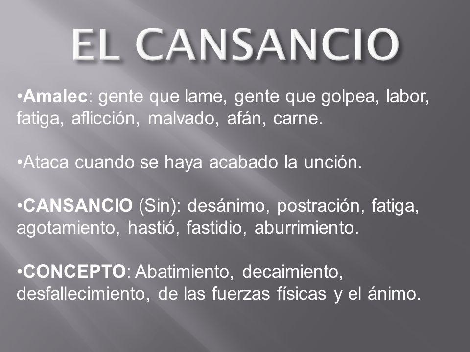 EL CANSANCIO Amalec: gente que lame, gente que golpea, labor, fatiga, aflicción, malvado, afán, carne.