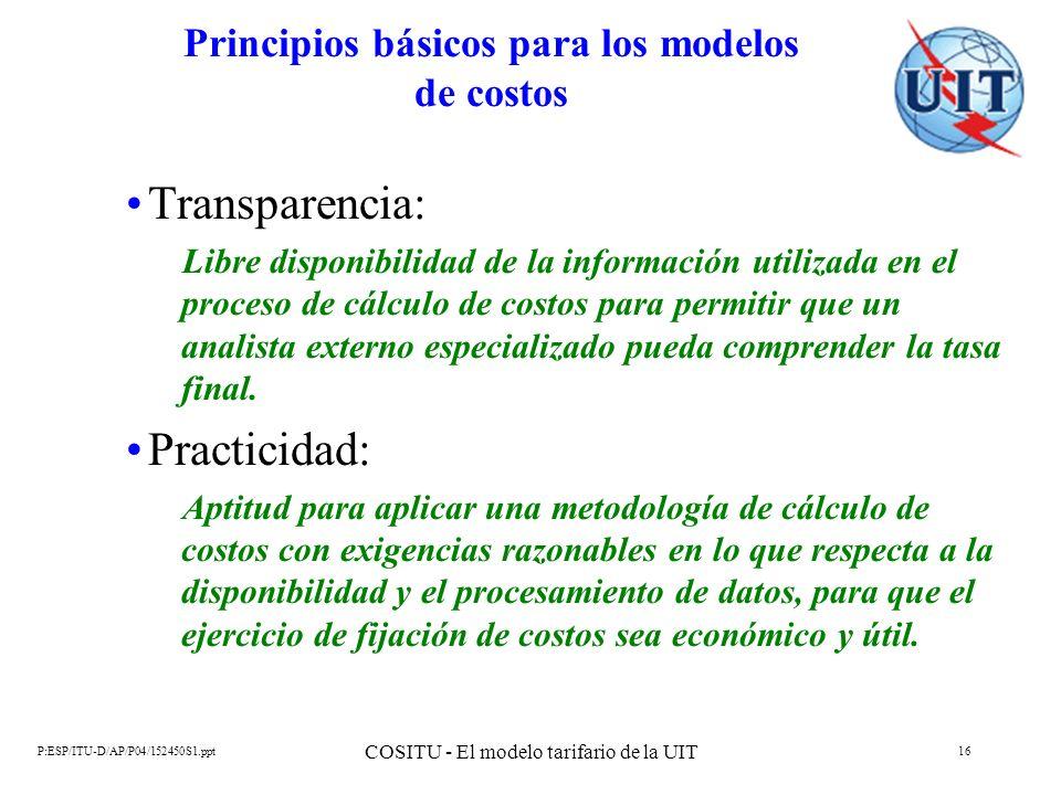 Principios básicos para los modelos de costos
