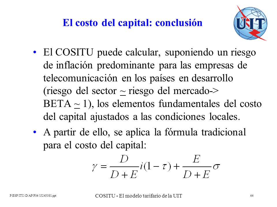 El costo del capital: conclusión