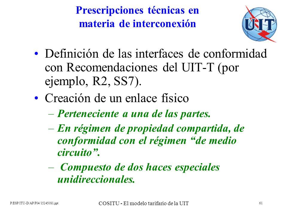Prescripciones técnicas en materia de interconexión