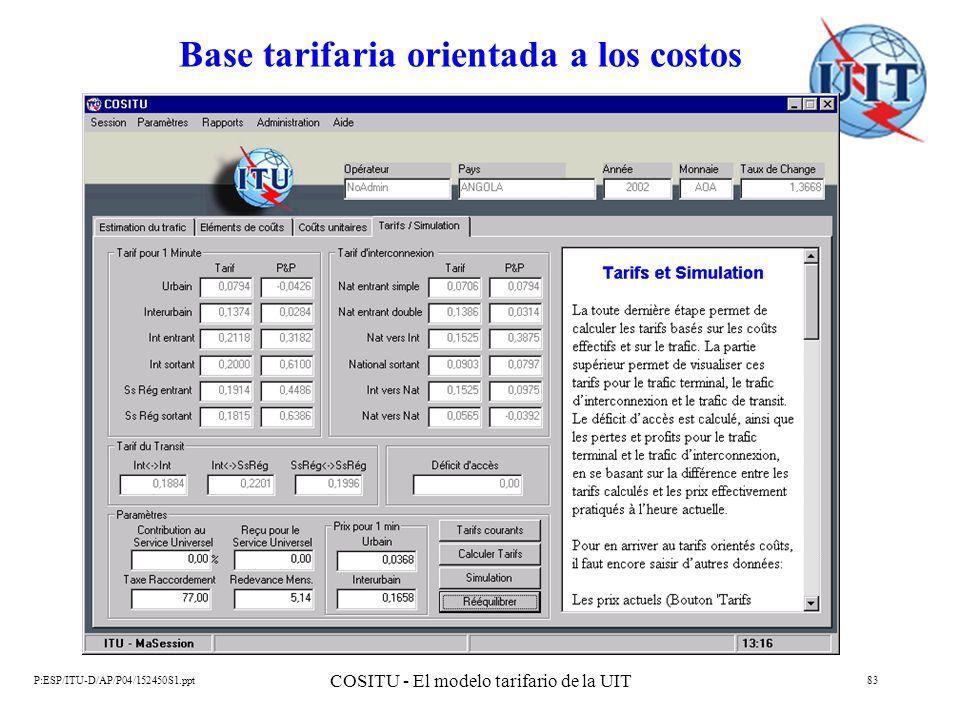 Base tarifaria orientada a los costos