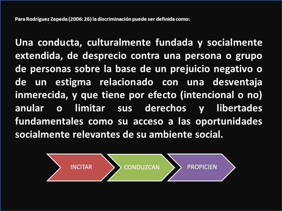 Para Rodríguez Zepeda (2006: 26) la discriminación puede ser definida como: