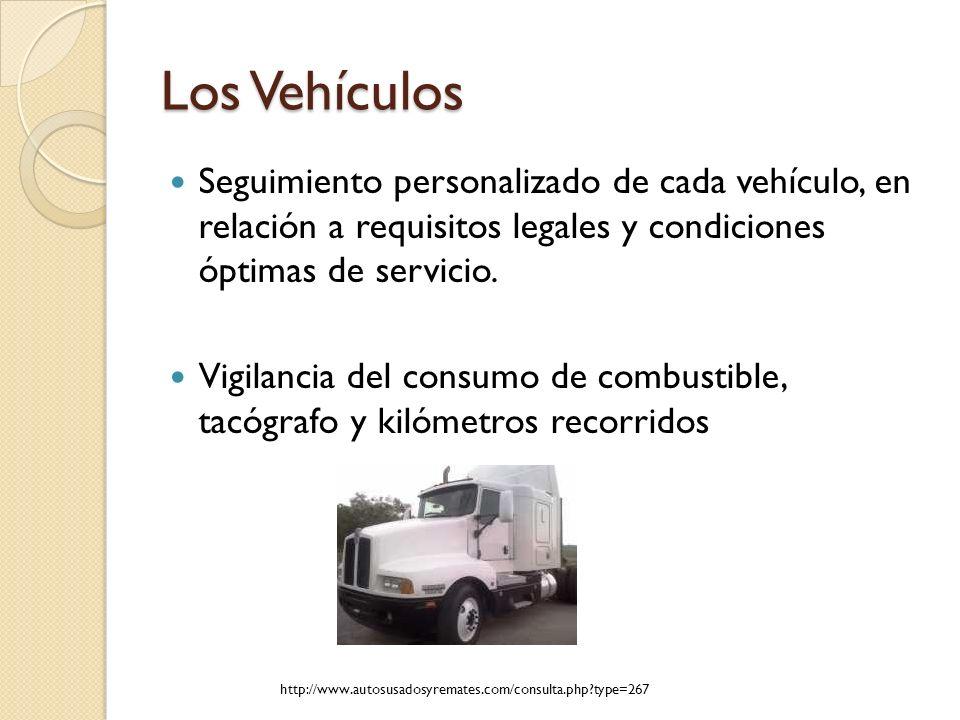 Los Vehículos Seguimiento personalizado de cada vehículo, en relación a requisitos legales y condiciones óptimas de servicio.