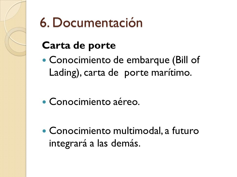 6. Documentación Carta de porte