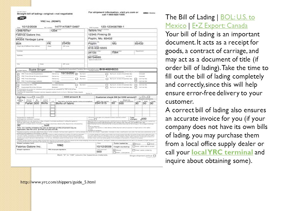 The Bill of Lading | BOL: U.S. to Mexico | E•Z Export: Canada