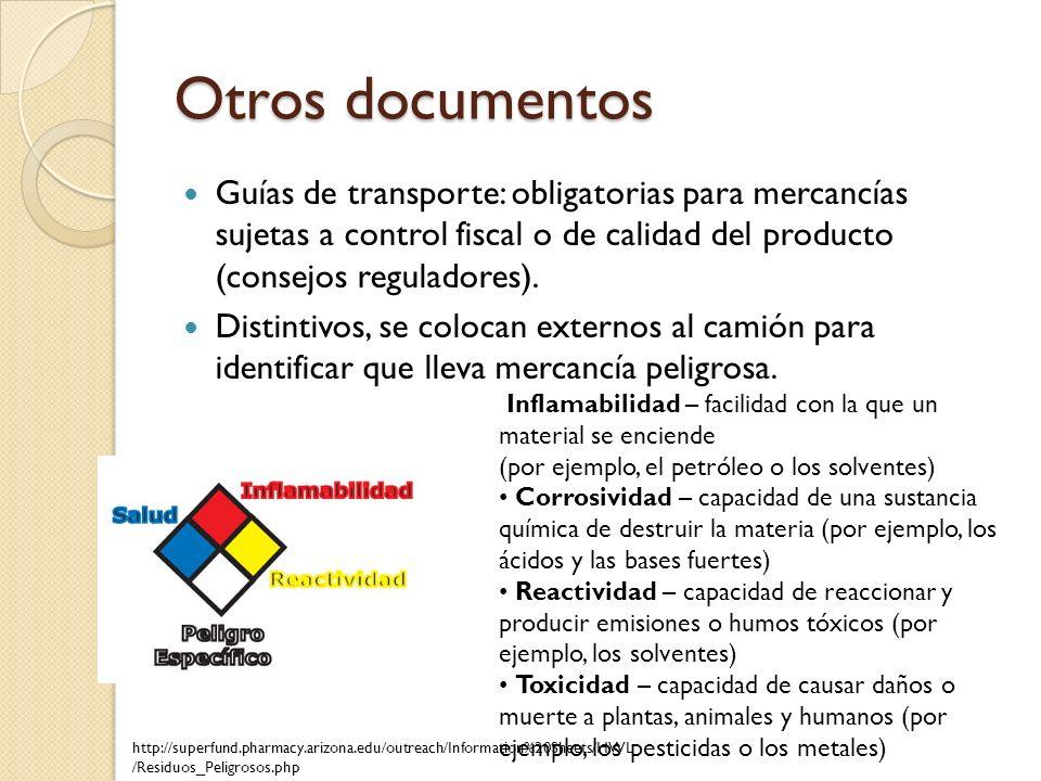 Otros documentos Guías de transporte: obligatorias para mercancías sujetas a control fiscal o de calidad del producto (consejos reguladores).