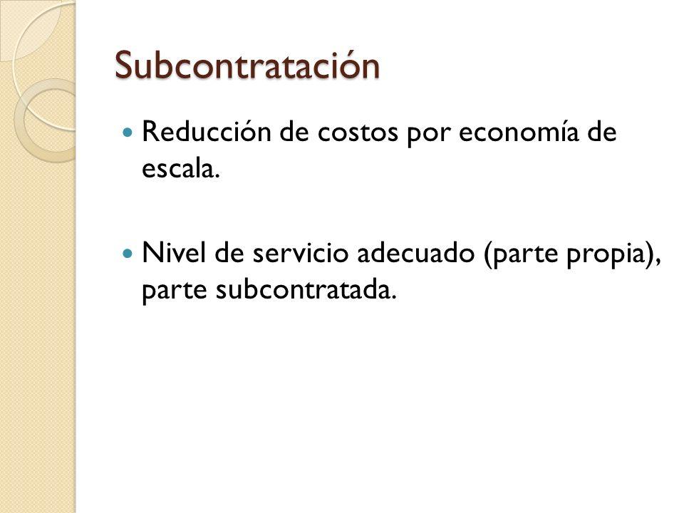 Subcontratación Reducción de costos por economía de escala.