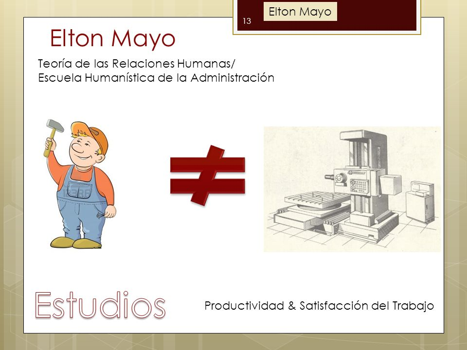 Estudios Elton Mayo Elton Mayo Teoría de las Relaciones Humanas/