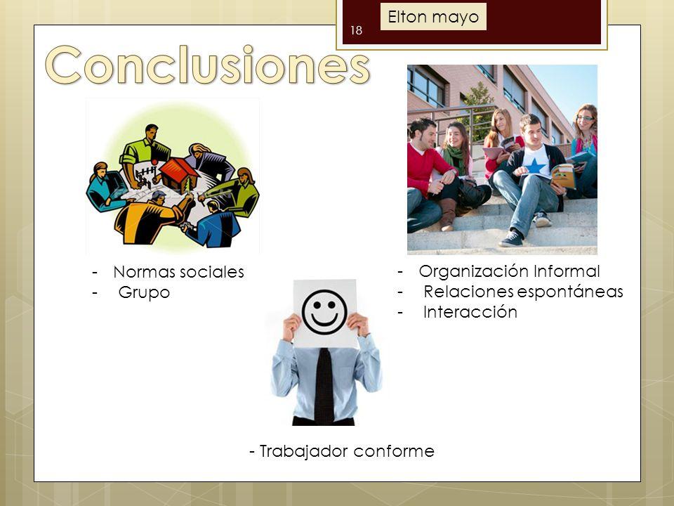 Conclusiones Elton mayo Normas sociales Organización Informal Grupo