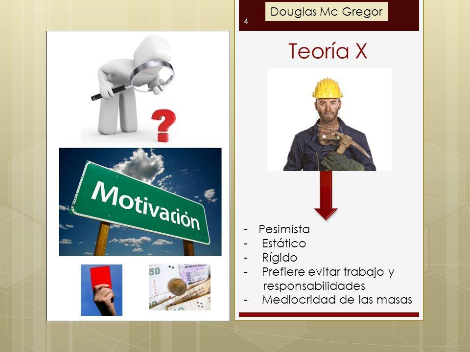 Teoría X Douglas Mc Gregor Pesimista Estático Rígido