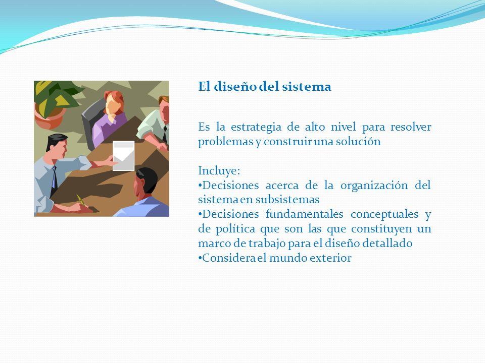 El diseño del sistema Es la estrategia de alto nivel para resolver problemas y construir una solución.