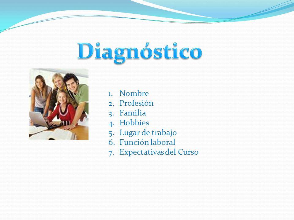 Diagnóstico Nombre Profesión Familia Hobbies Lugar de trabajo