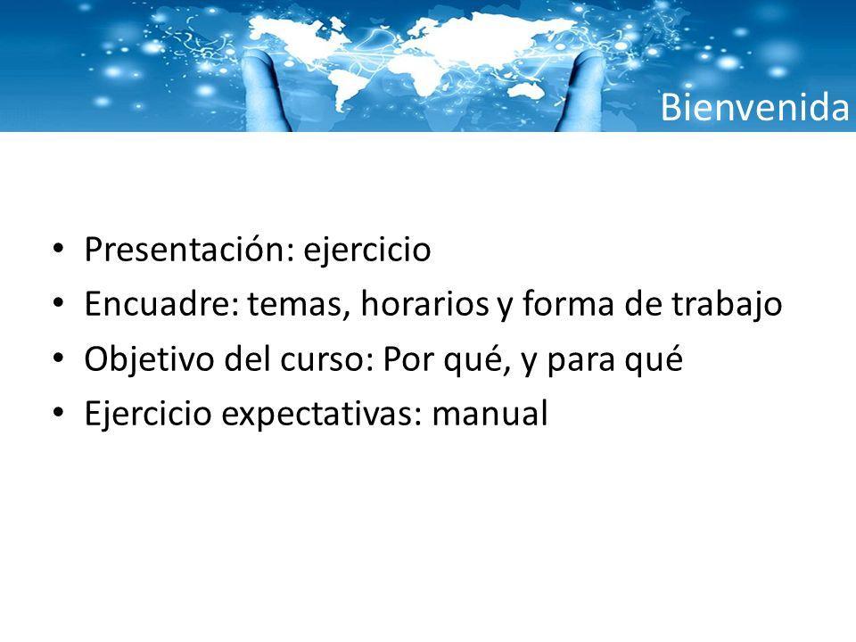 Bienvenida Presentación: ejercicio