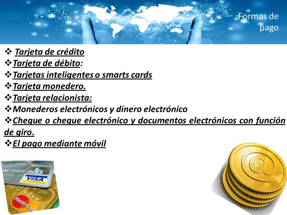 Formas de pago Tarjeta de crédito. Tarjeta de débito: Tarjetas inteligentes o smarts cards. Tarjeta monedero.