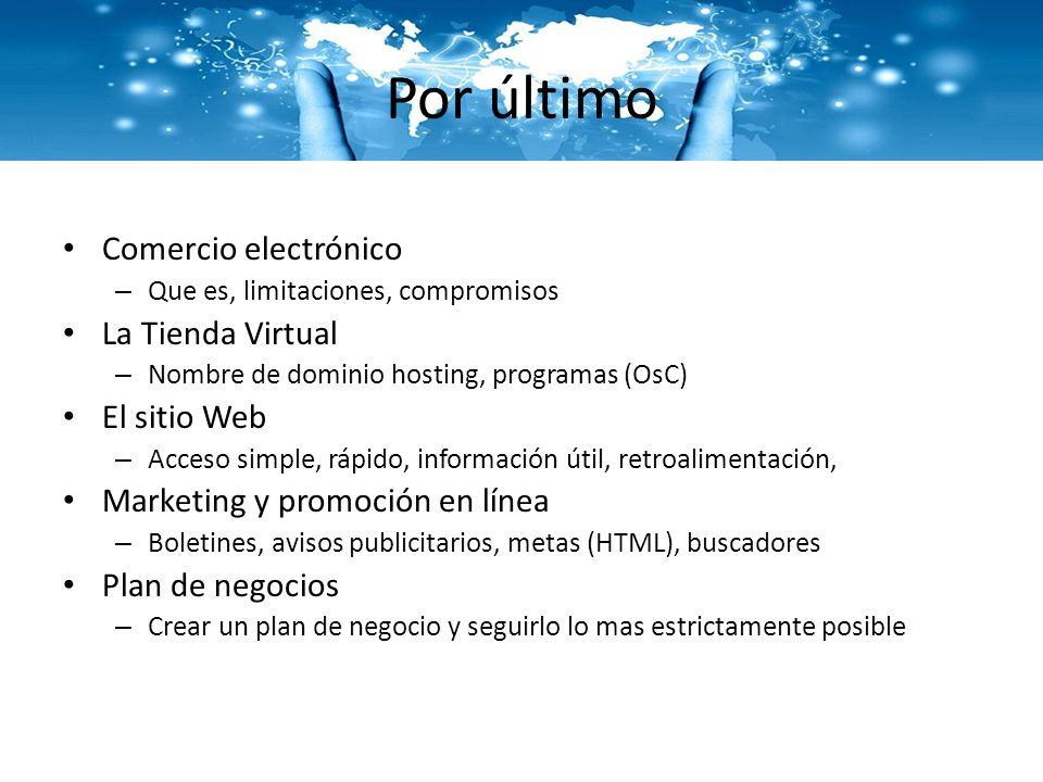 Por último Comercio electrónico La Tienda Virtual El sitio Web