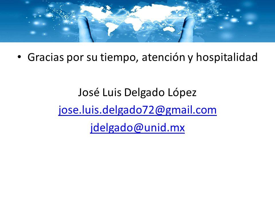 Gracias por su tiempo, atención y hospitalidad José Luis Delgado López
